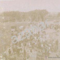 Fotografía antigua: SEVILLA, 1891, IMPRESIONANTE ALBUMINA DE LA FERIA DE GANADO,225X168MM. Lote 42606412