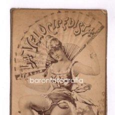 Fotografía antigua: LA VELOCIPEDISTA, MARCA REGISTRADA. FOTO ALBÚMINA 1890'S. 9X18 CM.. Lote 43336304