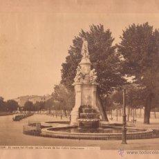 Fotografía antigua: MADRID, 336. EL SALÓN DEL PRADO CON LA FUENTE DE LAS 4 ESTACIONES, 1870'S. FOTO: LAURENT, 25,5X34 CM. Lote 43750806