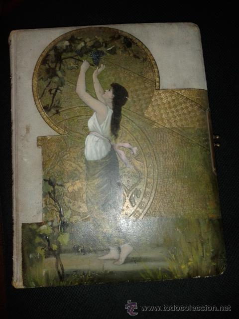 Fotografía antigua: Bonito album para fotografias antiguas pintado. Modernista Señora cogiendo uvas. - Foto 2 - 44375227