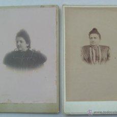Fotografía antigua: LOTE 2 FOTOS SEÑORAS DEL SIGLO XIX CON MOÑO . 11 X 17 CM. UNA DE F.RODRIGUEZ, SEVILLA .. Lote 45302280