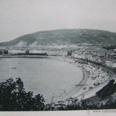 Fotografía antigua: SAN SEBASTIAN AÑO 1891 * LA CONCHA DESDE EL MOLINO DEL VIENTO * HAUSER Y MENET FOTOTIPIA 21 X 15 CM. Lote 45760772