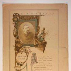 Fotografía antigua: EMILIO SALA Y FRANCÉS, PINTOR VALENCIANO (ALCOY 1850) FOTO 8X11CM. SOPORTE PAPEL: 32X44CM.. Lote 45960179