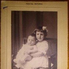 Fotografía antigua: BONITA FOTOGRAFIA DE DOS HERMANOS DE J. JUDEZ ZARAGOZA. Lote 46195790