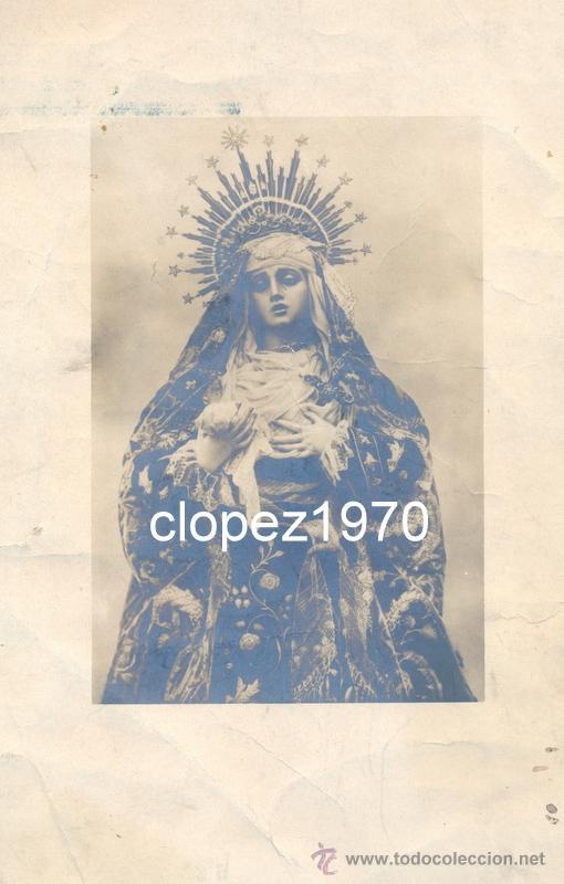 SEMANA SANTA DE SEVILLA, SIGLO XIX, ALBUMINA VIRGEN DE LOS DOLORES, CONVENTO DE CAPUCHINOS,LEER (Fotografía Antigua - Albúmina)