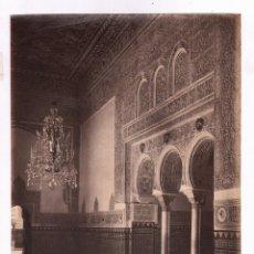 Fotografía antigua: SEVILLA, 1399. ALCÁZAR, SALÓN Y ARCOS. FOTO: LAURENT, MADRID. 25X34 CM.. Lote 47712655