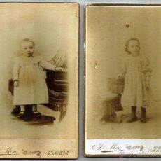 Fotografía antigua: ANTIGUAS FOTOGRAFÍAS DE NIÑOS EN ALBÚMINA -DOS UNIDADES- *SÚPER OCASIÓN*. Lote 48903547