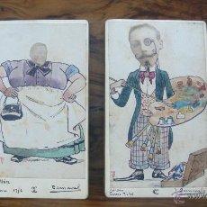 Fotografía antigua: 2 FOTOMONTAJES. CARNAVAL, 1886. PAPELES ALBUMINADOS, PINTADOS, FIRMADAS, TIRAJE DE ÉPOCA. 9X6 CM. . Lote 48921153