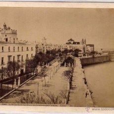 Fotografía antigua: ALBÚMINA CADIZ 2066 LA ALAMEDA DE APODACA CON LA IGLESIA DEL CARMEN. LAURENT Y CIA. . Lote 49030646