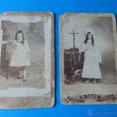 Fotografía antigua: 2 FOTOGRAFÍAS DE EPOCA. PRIMERA COMUNIÓN. FINALES DEL S. XIX, PRINCIPIOS DEL S. XX.. Lote 49214672