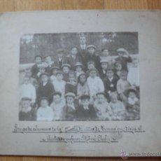 Fotografía antigua: FOTO ANTIGUA O ALBUMINA ALUMNOS DE LA ESCUELA DE NIÑOS TORRERO ZARAGOZA 1912. Lote 50103679