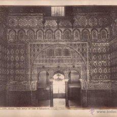 Fotografía antigua: SEVILLA, 1389. ALCAZAR, SALÓN DE EMBAJADORES, FOTO: LAURENT, MADRID. 34X25 CM.. Lote 50230277