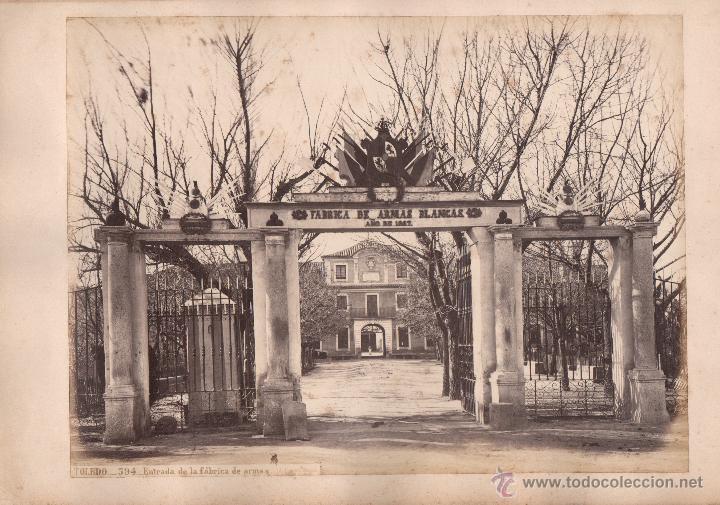 TOLEDO, 594. ENTRADA DE LA FÁBRICA DE ARMAS, FOTO: LAURENT, MADRID. 25X34 CM. (Fotografía Antigua - Albúmina)