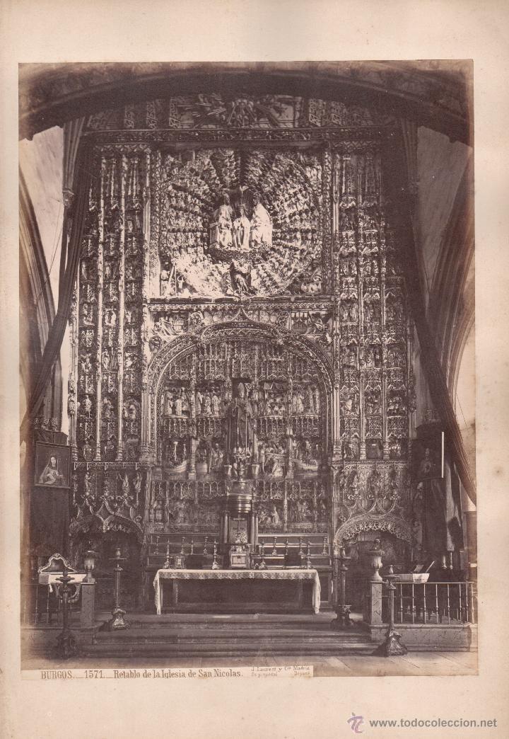 BURGOS, 1571. RETABLO DE LA IGLESIA DE SAN NICOLÁS, FOTO: LAURENT, MADRID. 25X34 CM (Fotografía Antigua - Albúmina)