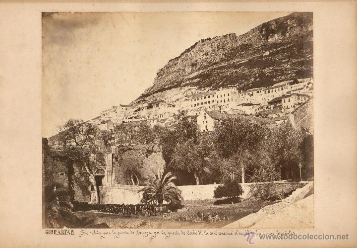 GIBRALTAR, 1860'S. GRAN ALBÚMINA 31X25 CM. SIN DATOS DEL FOTÓGRAFO. (Fotografía Antigua - Albúmina)