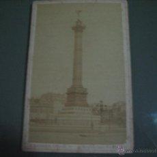 Fotografía antigua: FOTOGRAFIA ANTIGUA: 16.4X10,8 CTMS. EDITEUR: E. ZIEGLER.PARIS.-CARTONÈ.- COLONNE DE JUILLET. Lote 51342958