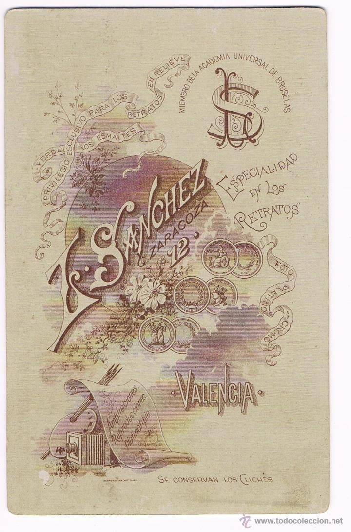 Fotografía antigua: L. SANCHEZ - FOTOGRAFO - VALENCIA - siglo XIX - Foto 2 - 51547786