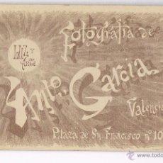 Fotografía antigua: ANTONIO GARCIA - VALENCIA - SIGLO XIX - LUZ Y ARTE. Lote 51549539