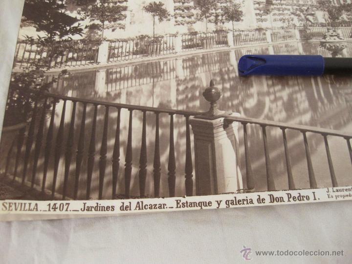 Fotografía antigua: FOTOGRAFÍA ALBÚMINA DE J. LAURENT. 25 X 33,5. SEVILLA 1407. JARDINES DEL ALCAZAR. ESTANQUE Y GALERIA - Foto 2 - 52314594