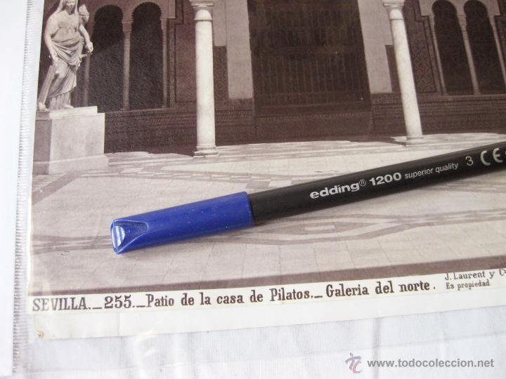 Fotografía antigua: FOTOGRAFÍA DE J. LAURENT. 25 X 33. SEVILLA 255. PATIO DE LA CASA DE PILATOS. GALERIA DEL NORTE - Foto 2 - 52315392