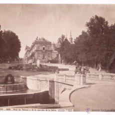 Fotografía antigua: SAN ILDEFONSO, 1081. VISTA DE PALACIO Y LA CASCADA DE LA SELVA, FOTO: LAURENT, MADRID. 25X33 CM.. Lote 52657221