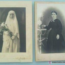 Fotografía antigua: 2 FOTOS: NIÑA DE MONJA DE 1ª COMUNION DE DUARTE , OVIEDO Y SEÑORA DE BANUS , BARCELONA. 12 X 18 CM .. Lote 52847648