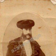 Fotografía antigua: ESPECTACULAR ALBUMINA DEL SIGLO XIX DE UN TORERO,62X102MM. Lote 53672486