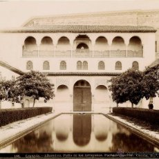 Fotografía antigua: GARZÓN. ALHAMBRA. 106. PATIO DE LOS ARRAYANES. FACHADA ORIENTAL.. Lote 46748596