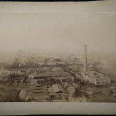Fotografía antigua: FOTO ANTIGUA ALBUMINA DE BARCELONA AÑO 1890 VISTA DESDE MONTJUIC PUERTO DIFICILISIMA. Lote 54331374
