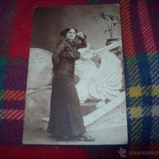 Fotografía antigua: MAGNÍFICA TARJETA POSTAL FOTOGRÁFICA DE UNA SEÑORA,PRINCIPIOS S.XX. BARÓ FOTÓGRAFO.. Lote 54597203