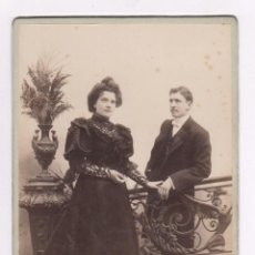 Fotografía antigua: RETRATO DE UNA PAREJA, 1890'S. FOTO: UNAL, GERONA. 13,5X22 CM.. Lote 54654955