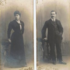 Fotografía antigua: DOS FOTOS MATRIMONIO. FORMATO INUSUAL. CA. 1890. FOTÓGRAFO: FRANCISCO A.ESTEVE (AMER). BARCELONA.. Lote 55266784