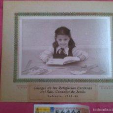 Fotografía antigua: VALENCIA. FOTO COLEGIAL. ESCLAVAS DEL SAGRADO CORAZÓN 1945. Lote 56370450