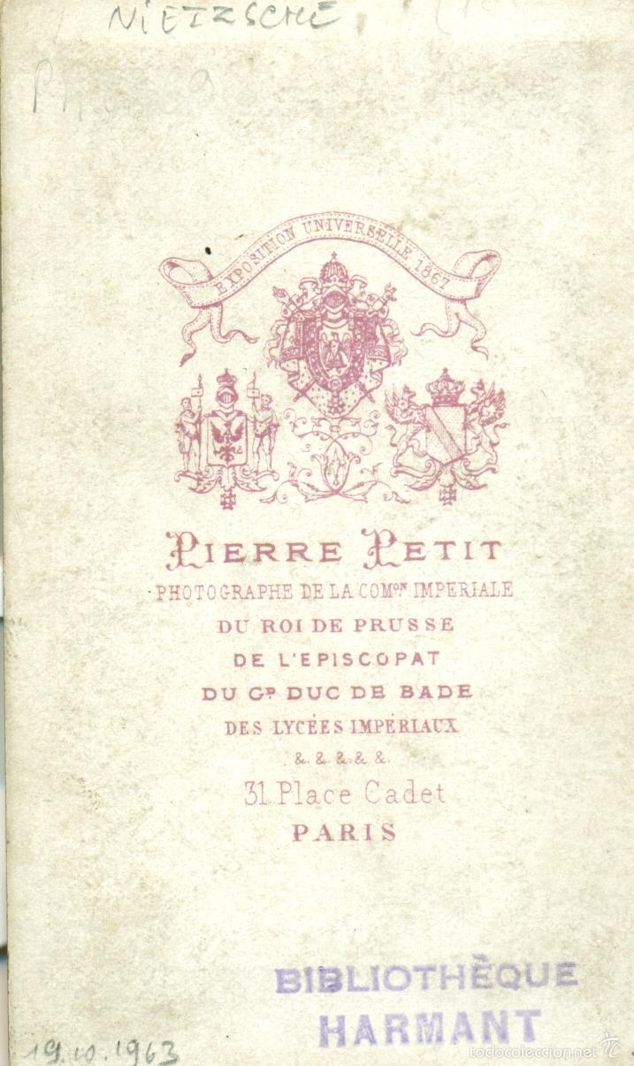 Fotografía antigua: PUEDE SER EL FILOSOFO FRIEDRICH NIETZSCHE.BIBLIOTÈQUE HARMANT. HACIA 1870. - Foto 2 - 56632155