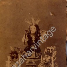 Fotografía antigua: PALMA DEL RIO, CORDOBA, SIGLO XIX, ALBUMINA DE UN NIÑO JESUS, FOT.LEOPOLDO RODRIGUEZ,90X140MM. Lote 56925730