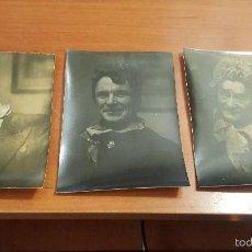 Fotografía antigua: 3 ALBUMINAS DE CABALLEROS TRAVESTIDOS, 10 X 8 CM.. Lote 57090050
