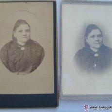 Fotografía antigua: LOTE DE 2 FOTOS SEÑORA ESPAÑOLA DEL SIGLO XIX . 11 X 17 CM. UNA DE L. OLARTE, SEVILLA. Lote 57256857