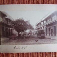 Fotografía antigua: 1886-CALLE COMERCIO.TRANVIA DE MULAS.ZULIA.MARACAIBO.VENEZUELA.ORIGINAL. Lote 57405953