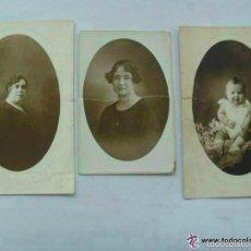 Fotografía antigua: LOTE 3 FOTOS DE ESTUDIO : BEBE , MUJERES . DE MATEOS Y LUCAS , ALMERIA. LAS MAYORES : 11 X 17 CM. Lote 57412761