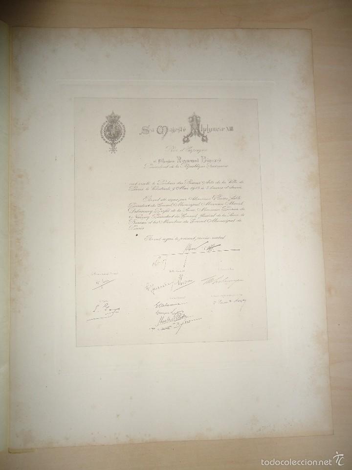 1913 - FOTOGRAFÍA - FACSÍMIL DEL PERGAMINO FIRMADO POR EL REY ALFONSO XIII ... - 33 X 25 CM. (Fotografía Antigua - Albúmina)