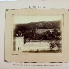 Fotografía antigua: LA- 15. SOLIUS. CASA FAMILIA VICENS. VISTA GENERAL CASA PAIRAL. MAYO DE 1883. J. BERTRAN FOTOGRAFO.. Lote 57886323