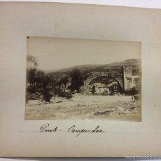 Fotografía antigua: CAMPRODON. PUENTE ROMANO. ALBÚMINA SOBRE CARTÓN.. Lote 58243897