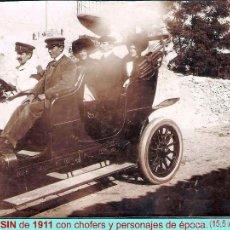 Fotografía antigua: 1911.- FOTO ORIGINAL DE AUTOMOVIL LIMOUSINE CON PERSONAJES, SOBRE CARTON. MEDIDAS 15,5 X 11,5 CM... Lote 58334885