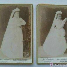 Fotografía antigua: LOTE 2 FOTOS DE ESTUDIO NIÑAS PRIMERA COMUNION, SIGLO XIX. DE M. COSMÉN, BARCELONA .8 X 12,5 CM. Lote 58335266