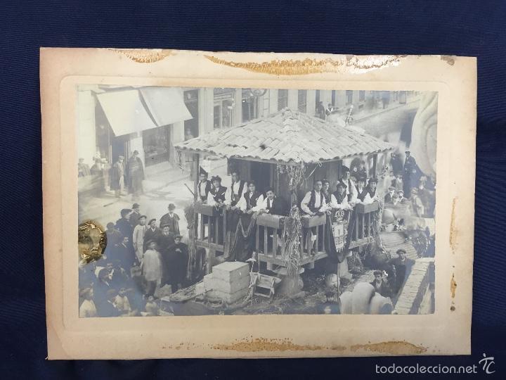 FOTO ALBUMINA FALLA CARROZA ASTURIAS HORREO HORCHATERIA A. MARTINEZ CALLE VALENCIA 16X22,5CM (Fotografía Antigua - Albúmina)