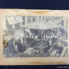 Fotografía antigua: FOTO ALBUMINA FALLA CARROZA ASTURIAS HORREO HORCHATERIA A. MARTINEZ CALLE VALENCIA 16X22,5CM. Lote 58581575