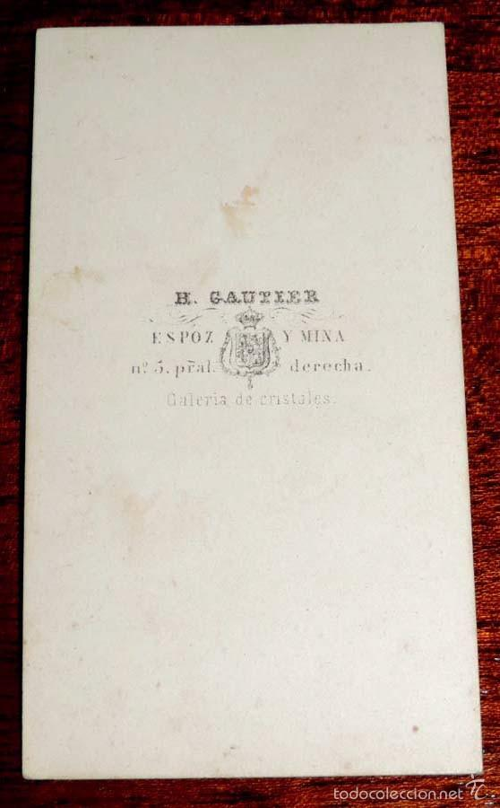 Fotografía antigua: FOTOGRAFIA ALBUMINA TIPO CDV, HOMBRE CON SOMBRERO DE COPA, FOTO H. GAUTIER, MIDE 10,5 X 6 CMS. - Foto 2 - 59802420