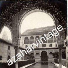 Fotografía antigua: GARZON. 210 GRANADA. PATIO DE LOS ARRAYANES, FACHADA DE INVIERNO, ALHAMBRA, 208X156MM. Lote 61351610