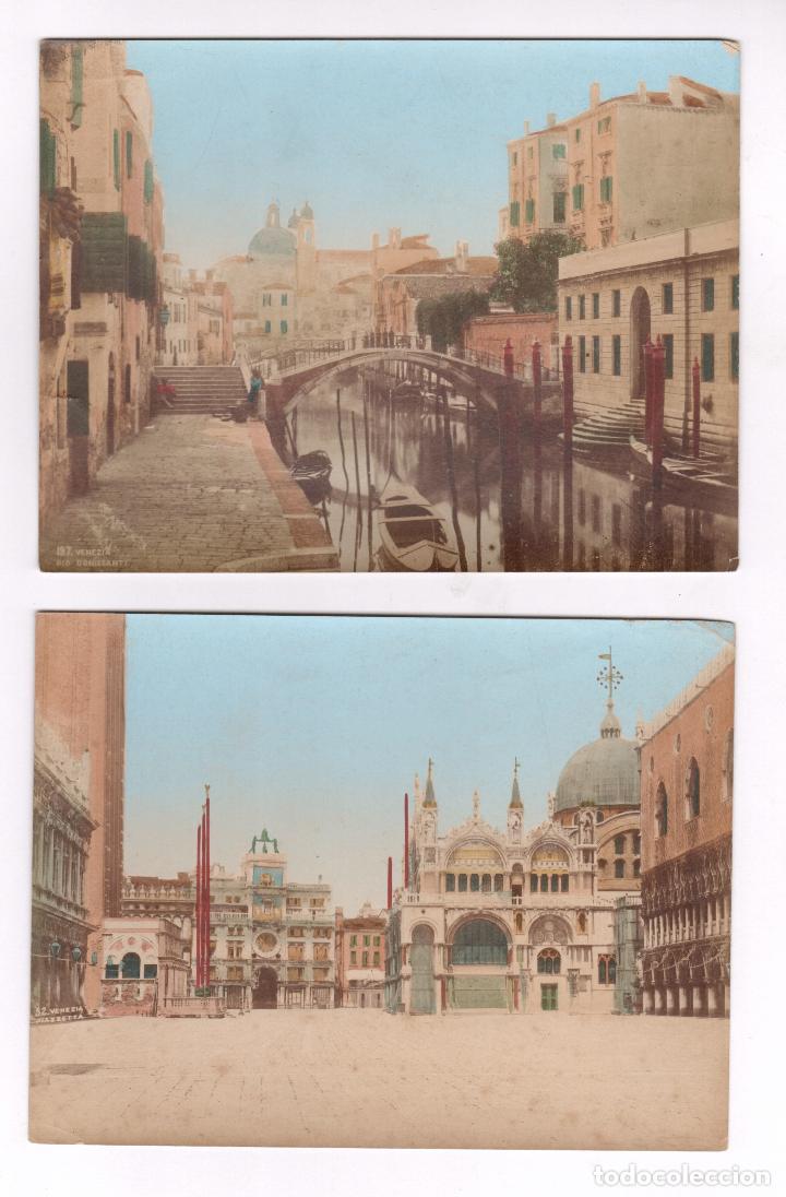 VENECIA, 1870'S. 2 ALBÚMINAS ILUMINADAS 13,5X17,5 CM. (Fotografía Antigua - Albúmina)