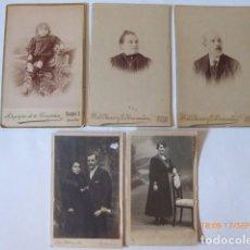 Fotografía antigua: CINCO FOTOGRAFIAS ANTIGUAS, TRES ALBUMINAS Y DOS TIPO POSTAL,. Lote 62950128